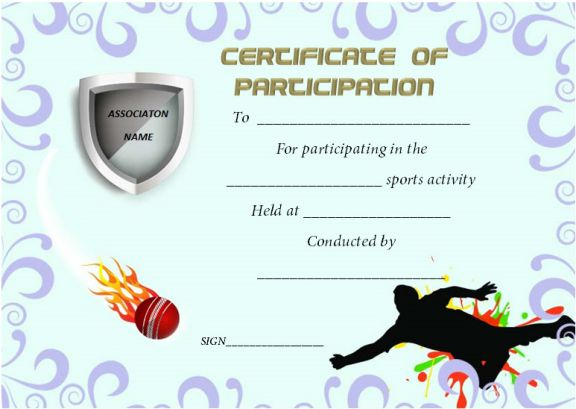 Certificate Of Participation Template For Sports