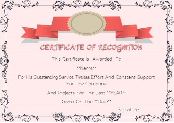 Certificate Of Service Templates For Employees Formats Wording - Years of service certificate template
