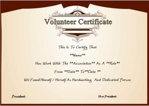 certificate of volunteer service template