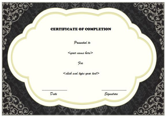 Certificate of completion - black and white