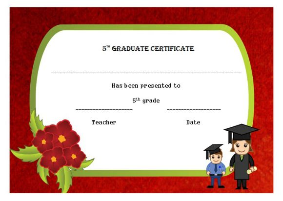 Completion certificate for 5th grade
