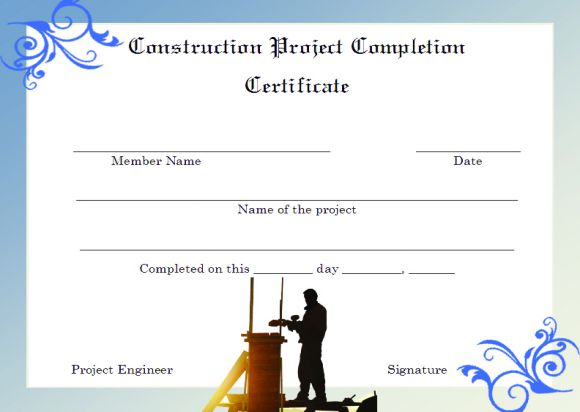 Construction Project Completion Certificate Format