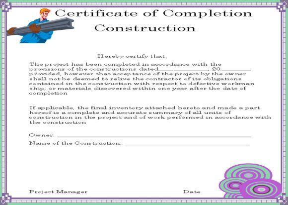 project work completion certificate - Kubre.euforic.co