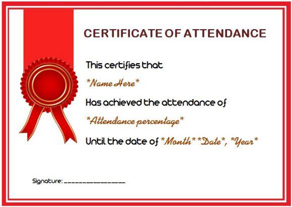 attendance certificate sample