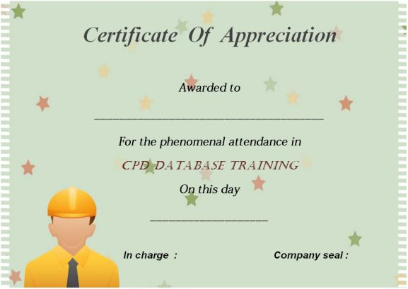21 best certificate of attendance templates for your for Cpd certificate template
