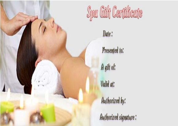 Day spa gift certificates template