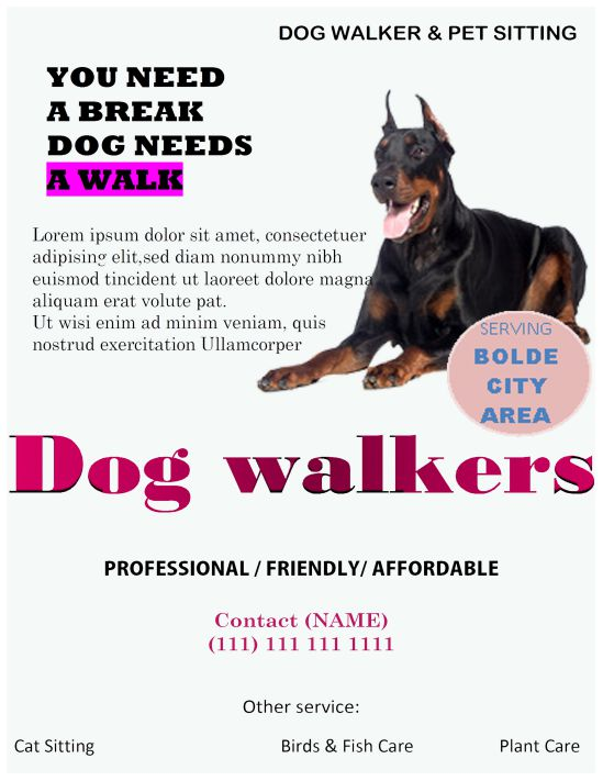 25 Dog Walking Flyers For Small Dog Sitting Businesses Attractive