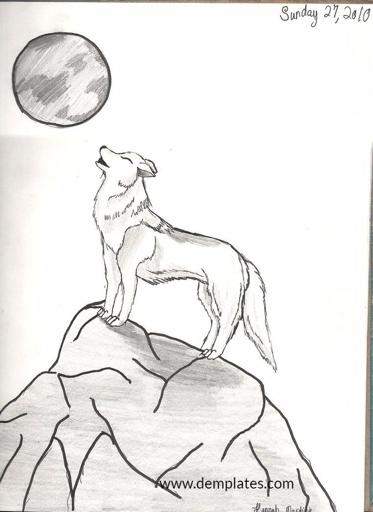 Drawing of wolves howling at the moon - 7_2