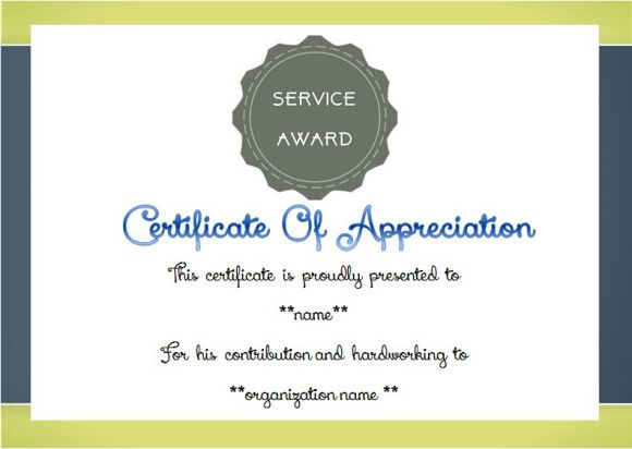 certificate of appreciation for long service