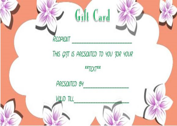 Facial gift certificates template