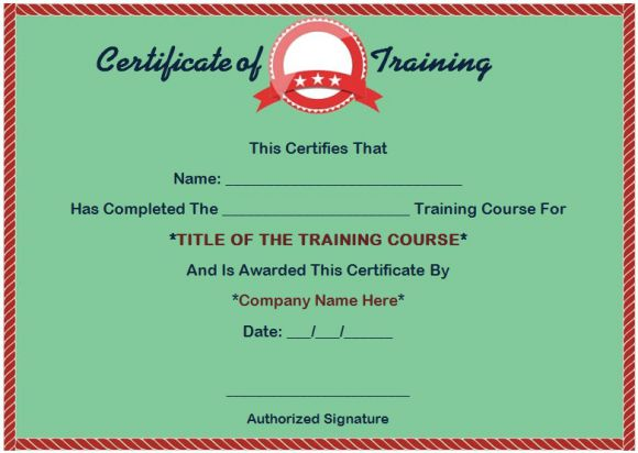 Format of training completion certificate