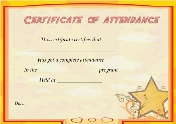 Free Certificate Of Attendance Template For Word