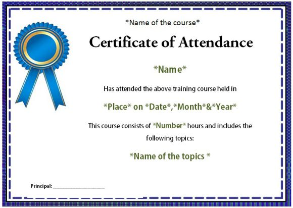 Course attendance certificate template 10editable word templates what is the format of attendance certificate for students yadclub Gallery