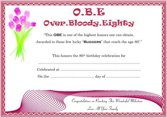 Free obe certificate