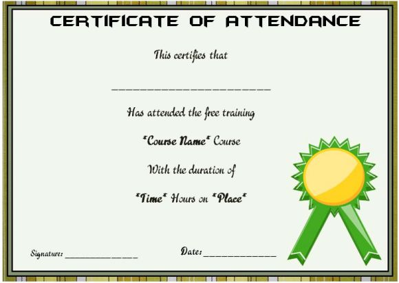 Course attendance certificate template 10editable word templates what is the format of attendance certificate for students yadclub Image collections