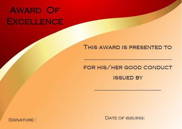 Good conduct certificate sample