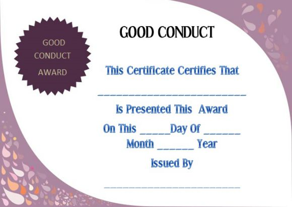 Good conduct certificate template 22 word templates for employees certificate of good conduct sample yadclub Choice Image