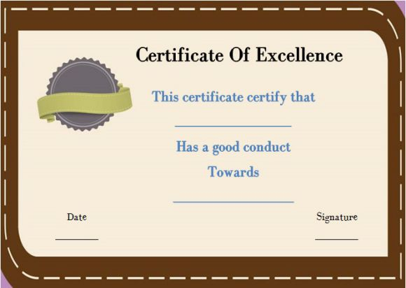 Good conduct certificate template navy
