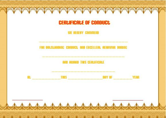 Good conduct medal certificate templates