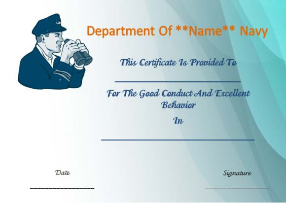 Good conduct medal certificate templates navy