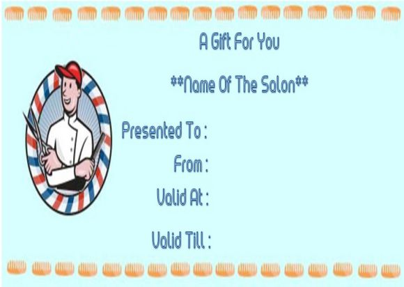 Hair salon gift voucher