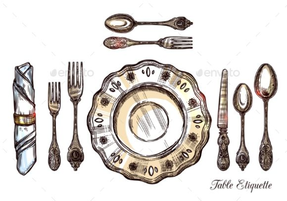 Hand Drawn table setting template