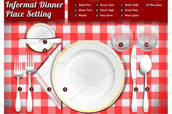 Informal dinner place setting template