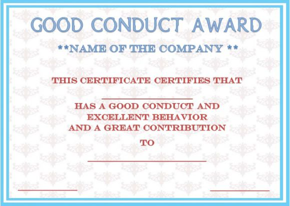 Good conduct certificate template 22 word templates for employees letter of good conduct for a employer yadclub Images