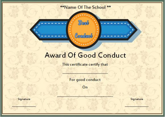 Good conduct certificate template 22 word templates for employees letters for good conduct for a student yelopaper Choice Image