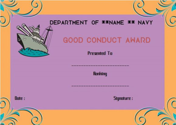 Navy good conduct award certificate template