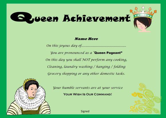 Pageant queen achievement printable certificate