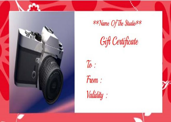 Photographer gift certificate template free