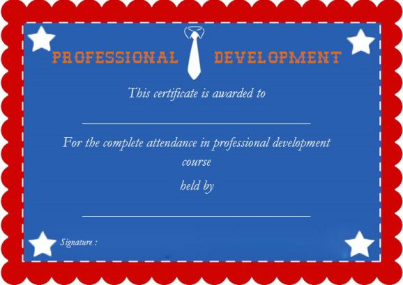 Professional Development Certificate Of Attendance Template