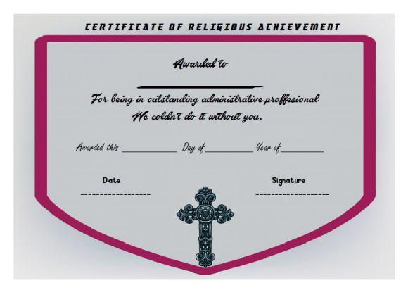 Religious Achievement Certificate