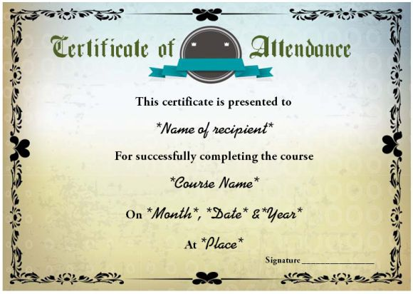 Sample course attendance certificate