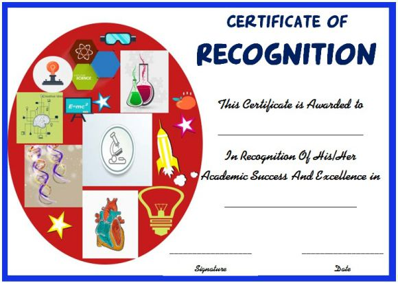 Science fair certificate of recognition template