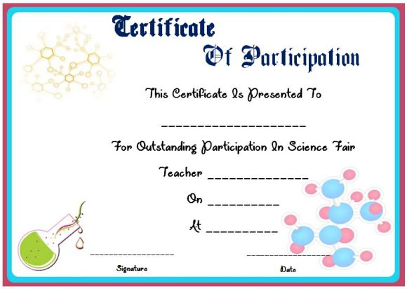 science fair participation certificate 11 free editable