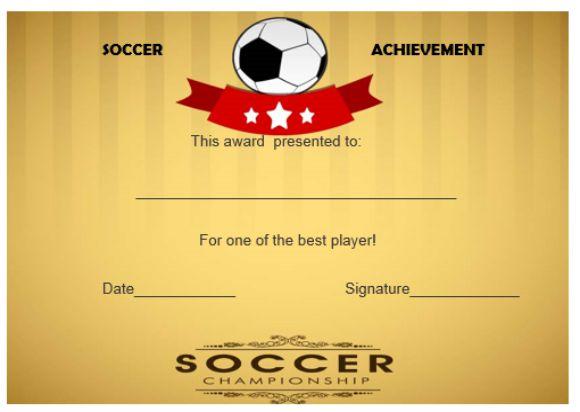 soccer achievement certificate
