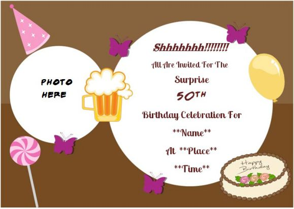 Surprise 50th birthday party photo invitation