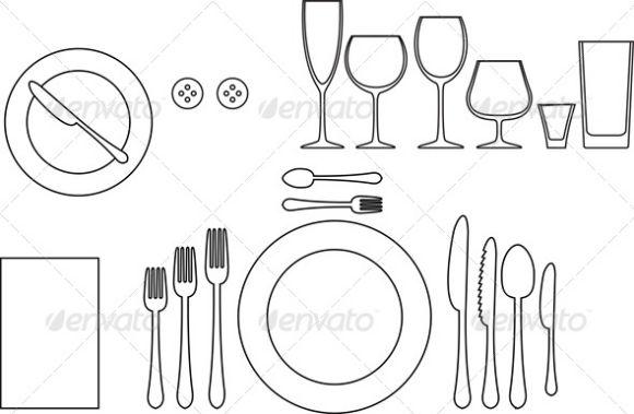 table setting tableware silhouette