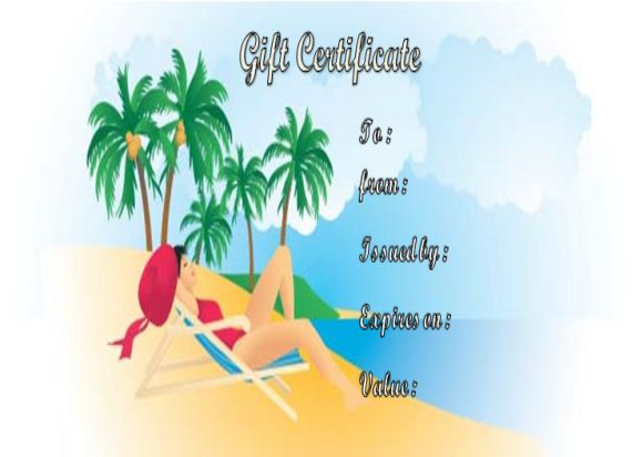 Tanning salon gift certificates template