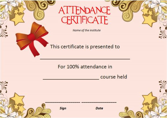 Template Certificate Of Attendance At Course