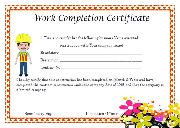 Work Completion Certificate Format For Construction