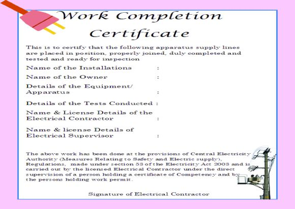 work done certificate sample