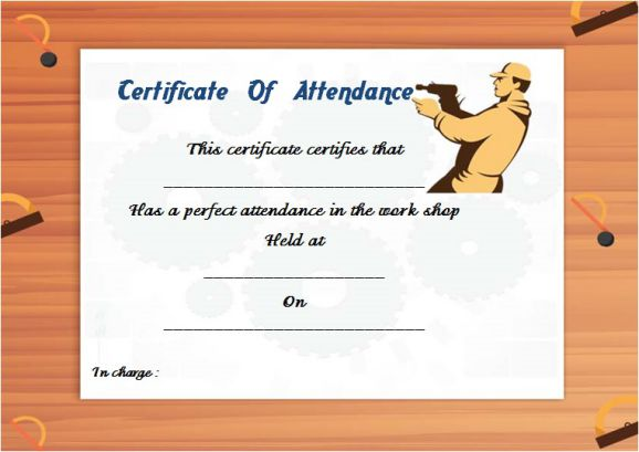 Workshop Certificate Of Attendance Template