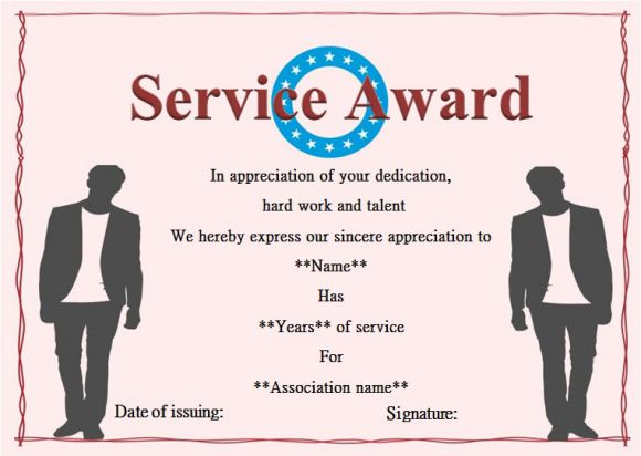 years of service award certificate template