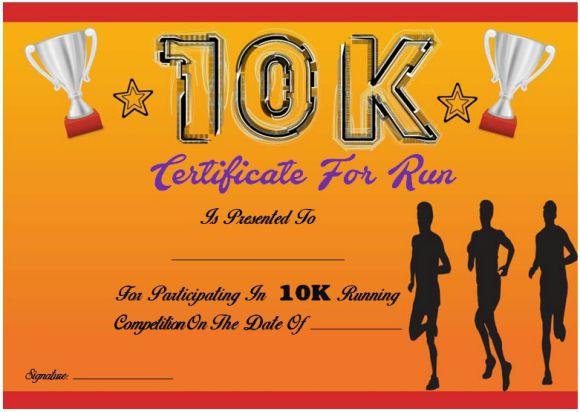10k fun run certificate template