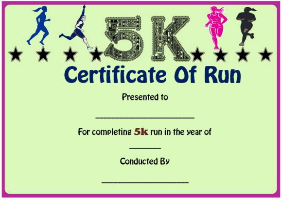 Fun run certificate template 14 editable free word for Cross country certificate templates free