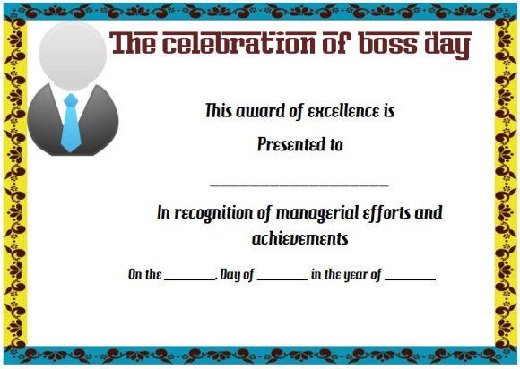 Boss's day blank certificate