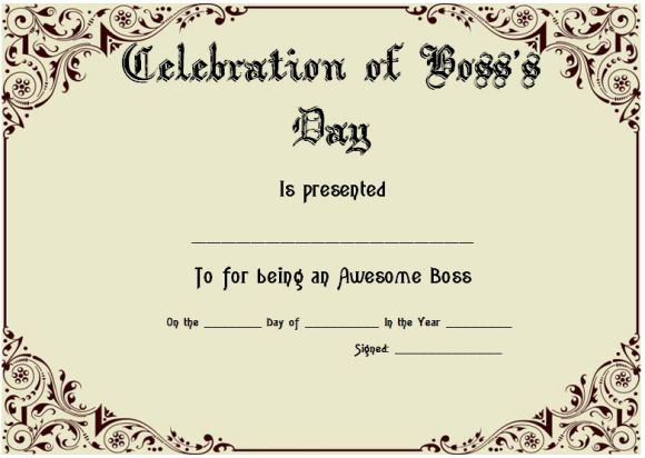 Boss's day printable certificate